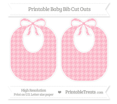 Free Pastel Light Pink Houndstooth Pattern Large Baby Bib Cut Outs