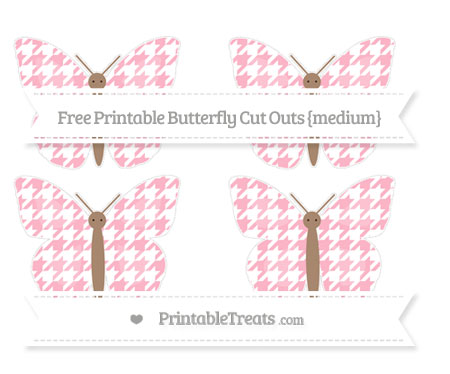 Free Pastel Light Pink Houndstooth Pattern Medium Butterfly Cut Outs