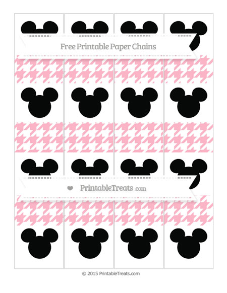 Free Pastel Light Pink Houndstooth Pattern Mickey Mouse Paper Chains