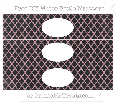 Free Pastel Light Pink Moroccan Tile Chalk Style DIY Water Bottle Wrappers