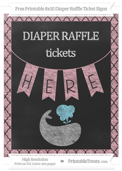 Free Pastel Light Pink Moroccan Tile Chalk Style Whale 8x10 Diaper Raffle Ticket Sign