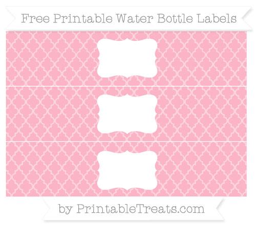 Free Pastel Light Pink Moroccan Tile Water Bottle Labels