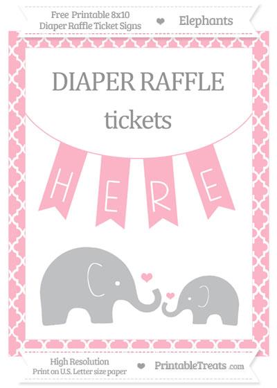 Free Pastel Light Pink Moroccan Tile Elephant 8x10 Diaper Raffle Ticket Sign
