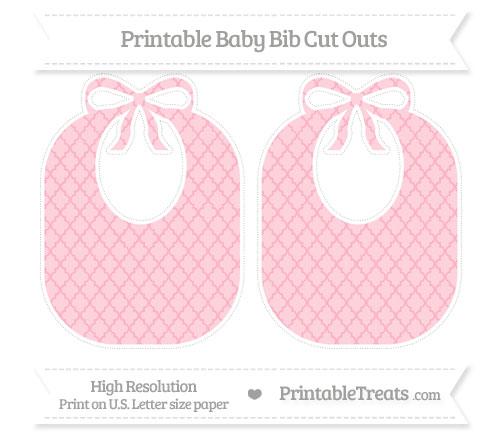 Free Pastel Light Pink Moroccan Tile Large Baby Bib Cut Outs