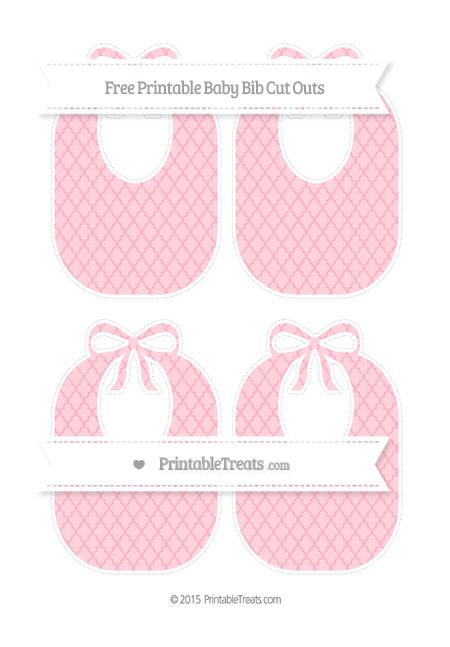 Free Pastel Light Pink Moroccan Tile Medium Baby Bib Cut Outs