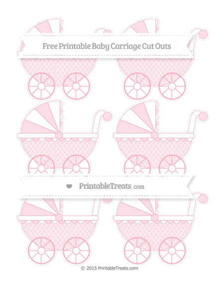 Free Pastel Light Pink Moroccan Tile Small Baby Carriage Cut Outs
