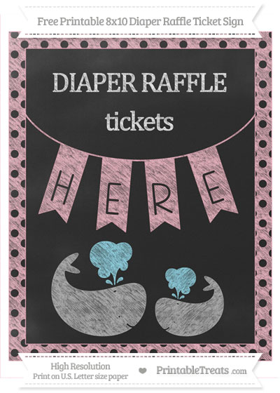 Free Pastel Light Pink Polka Dot Chalk Style Baby Whale 8x10 Diaper Raffle Ticket Sign