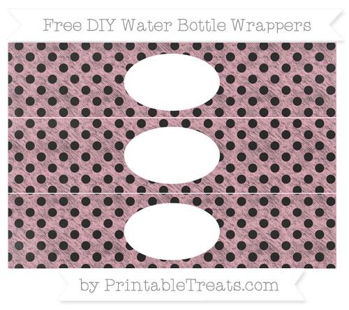 Free Pastel Light Pink Polka Dot Chalk Style DIY Water Bottle Wrappers