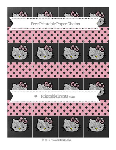 Free Pastel Light Pink Polka Dot Chalk Style Hello Kitty Paper Chains