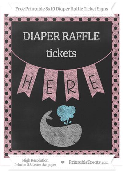 Free Pastel Light Pink Polka Dot Chalk Style Whale 8x10 Diaper Raffle Ticket Sign