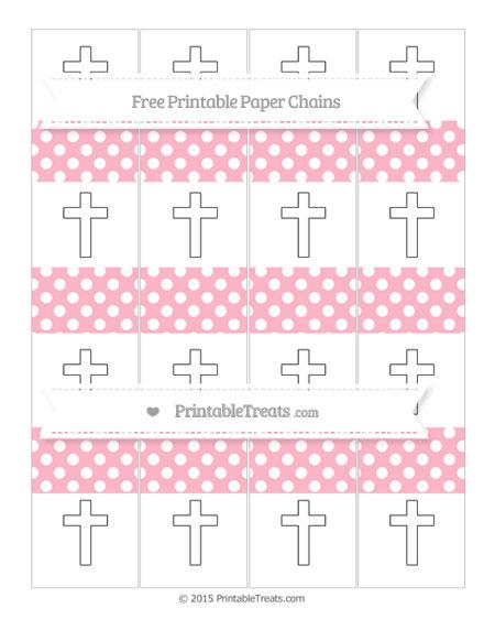 Free Pastel Light Pink Polka Dot Cross Paper Chains