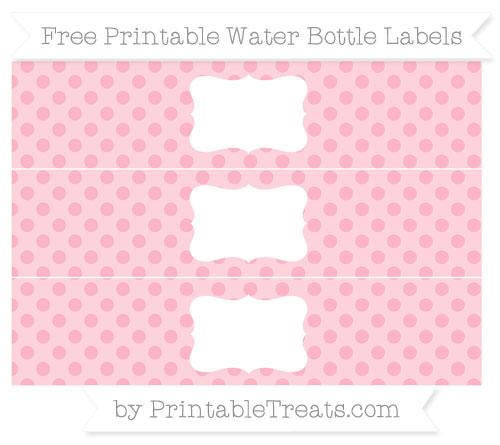 Free Pastel Light Pink Polka Dot Water Bottle Labels
