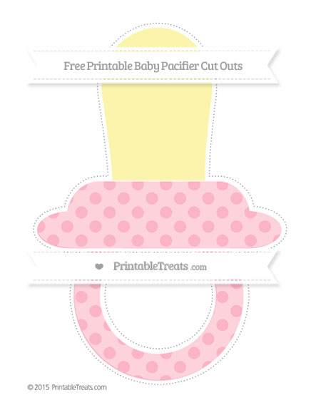Free Pastel Light Pink Polka Dot Extra Large Baby Pacifier Cut Outs
