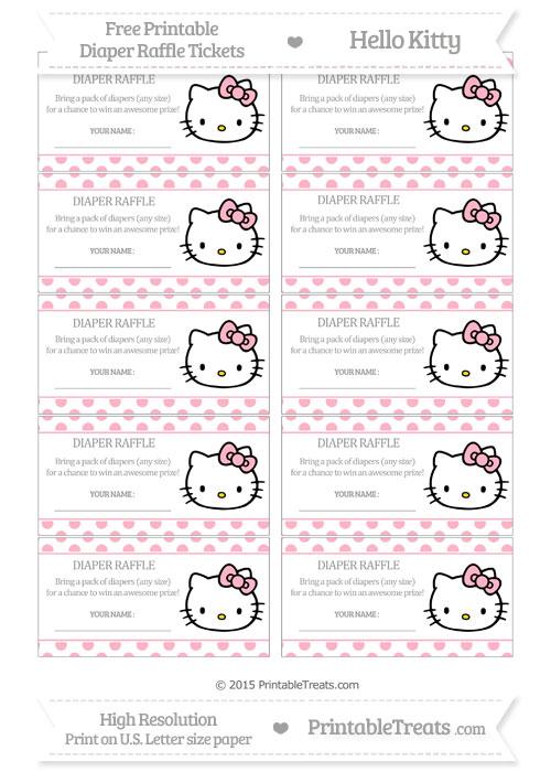 Free Pastel Light Pink Polka Dot Hello Kitty Diaper Raffle Tickets