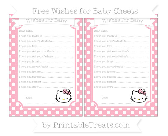 Free Pastel Light Pink Polka Dot Hello Kitty Wishes for Baby Sheets