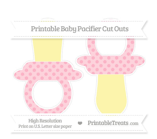 Free Pastel Light Pink Polka Dot Large Baby Pacifier Cut Outs
