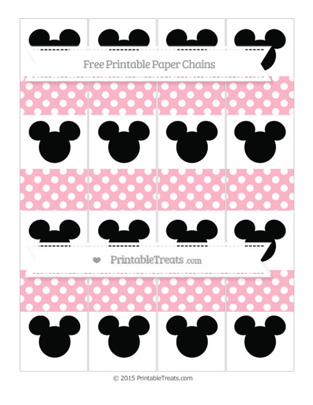 Free Pastel Light Pink Polka Dot Mickey Mouse Paper Chains