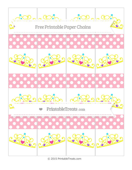 Free Pastel Light Pink Polka Dot Princess Tiara Paper Chains