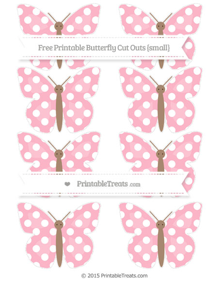 Free Pastel Light Pink Polka Dot Small Butterfly Cut Outs