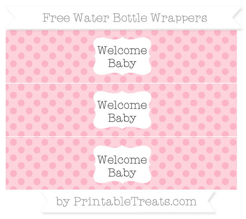 Free Pastel Light Pink Polka Dot Welcome Baby Water Bottle Wrappers