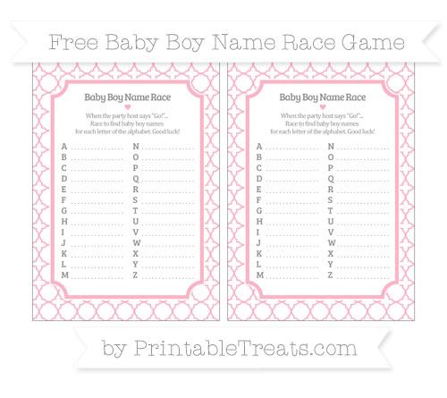 Free Pastel Light Pink Quatrefoil Pattern Baby Boy Name Race Game