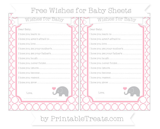 Free Pastel Light Pink Quatrefoil Pattern Baby Elephant Wishes for Baby Sheets