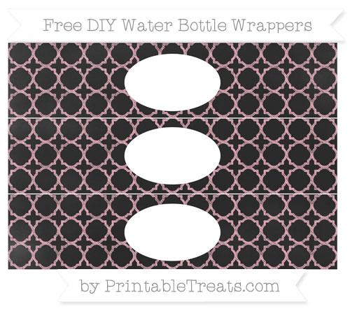 Free Pastel Light Pink Quatrefoil Pattern Chalk Style DIY Water Bottle Wrappers