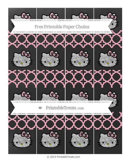 Free Pastel Light Pink Quatrefoil Pattern Chalk Style Hello Kitty Paper Chains