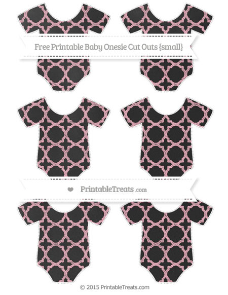 Free Pastel Light Pink Quatrefoil Pattern Chalk Style Small Baby Onesie Cut Outs