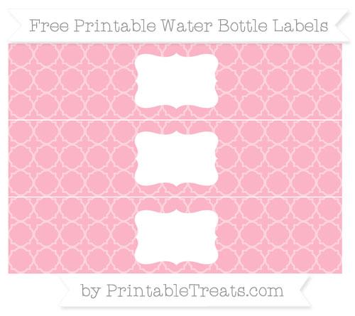 Free Pastel Light Pink Quatrefoil Pattern Water Bottle Labels