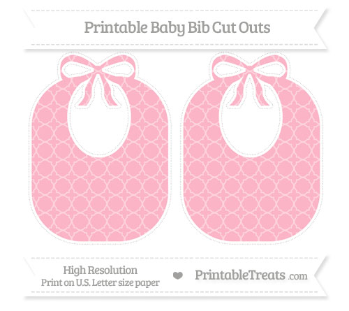 Free Pastel Light Pink Quatrefoil Pattern Large Baby Bib Cut Outs