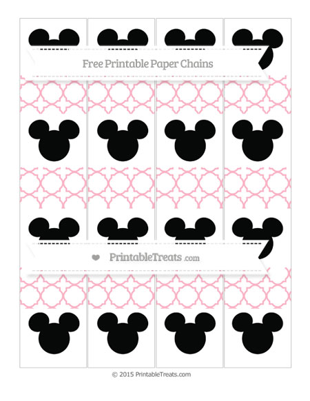 Free Pastel Light Pink Quatrefoil Pattern Mickey Mouse Paper Chains