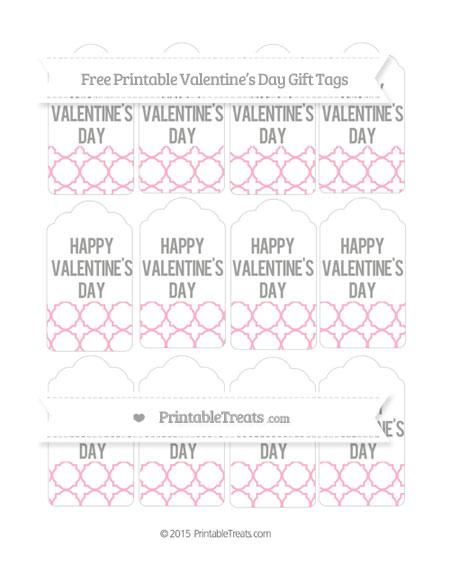Free Pastel Light Pink Quatrefoil Pattern Valentine's Day Gift Tags