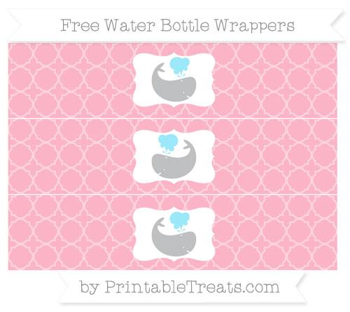 Free Pastel Light Pink Quatrefoil Pattern Whale Water Bottle Wrappers