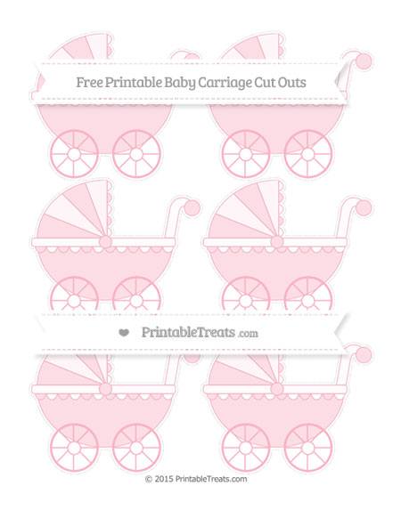 Free Pastel Light Pink Small Baby Carriage Cut Outs