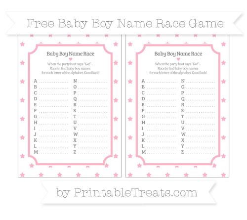 Free Pastel Light Pink Star Pattern Baby Boy Name Race Game