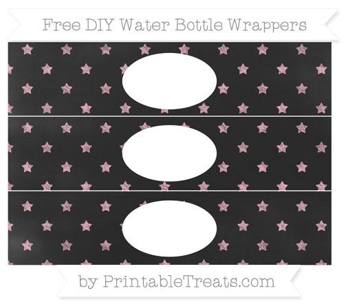 Free Pastel Light Pink Star Pattern Chalk Style DIY Water Bottle Wrappers
