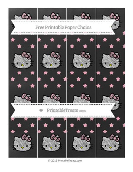 Free Pastel Light Pink Star Pattern Chalk Style Hello Kitty Paper Chains