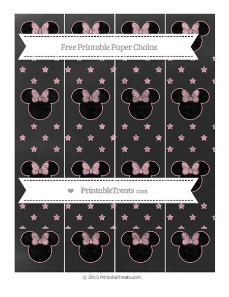 Free Pastel Light Pink Star Pattern Chalk Style Minnie Mouse Paper Chains