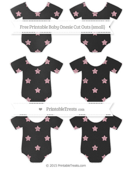 Free Pastel Light Pink Star Pattern Chalk Style Small Baby Onesie Cut Outs