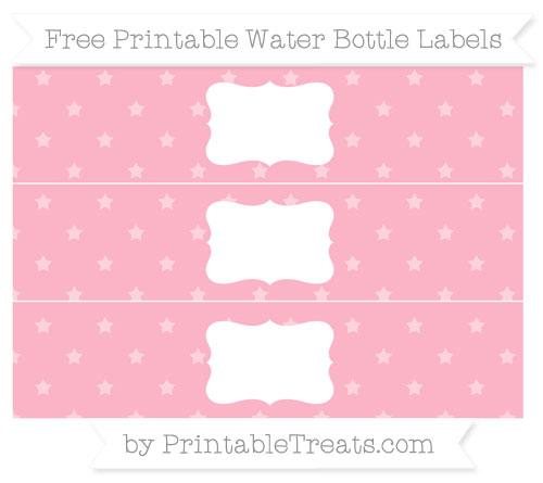 Free Pastel Light Pink Star Pattern Water Bottle Labels