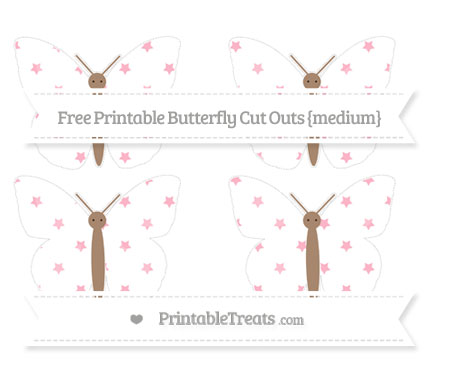 Free Pastel Light Pink Star Pattern Medium Butterfly Cut Outs