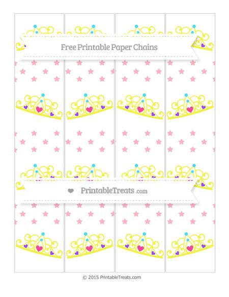 Free Pastel Light Pink Star Pattern Princess Tiara Paper Chains