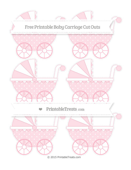 Free Pastel Light Pink Star Pattern Small Baby Carriage Cut Outs