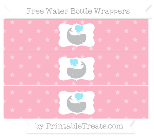 Free Pastel Light Pink Star Pattern Whale Water Bottle Wrappers