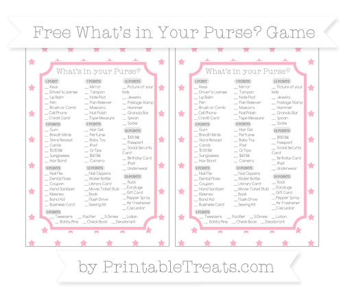 Free Pastel Light Pink Star Pattern What's in Your Purse Baby Shower Game