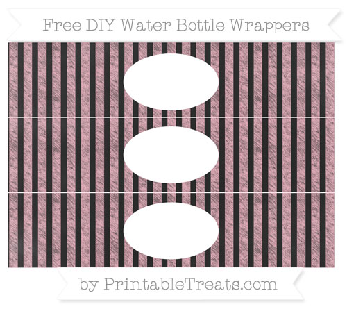 Free Pastel Light Pink Striped Chalk Style DIY Water Bottle Wrappers