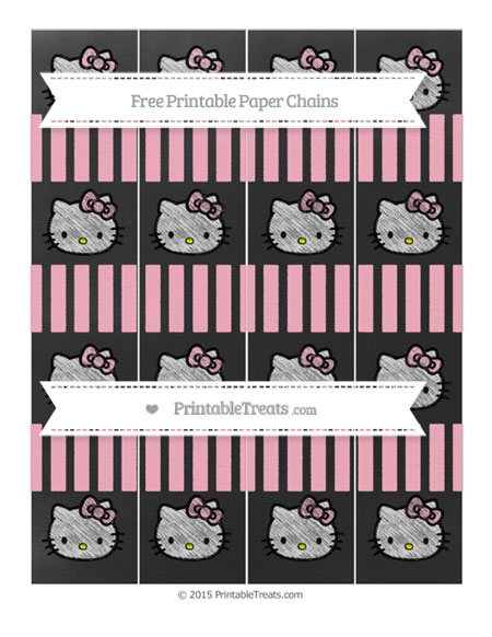 Free Pastel Light Pink Striped Chalk Style Hello Kitty Paper Chains