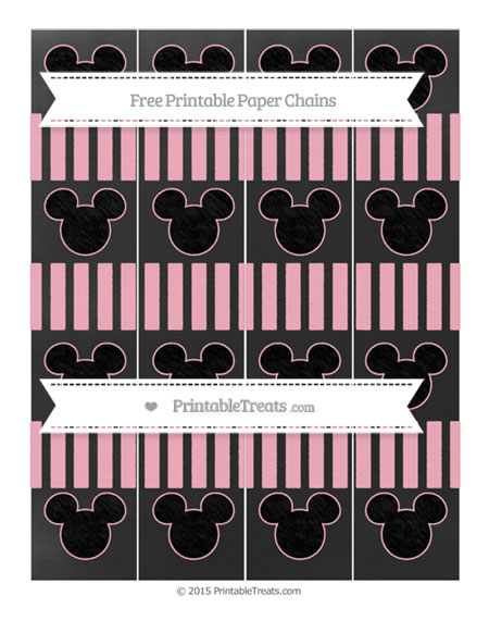 Free Pastel Light Pink Striped Chalk Style Mickey Mouse Paper Chains