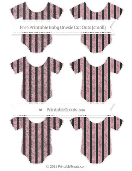 Free Pastel Light Pink Striped Chalk Style Small Baby Onesie Cut Outs
